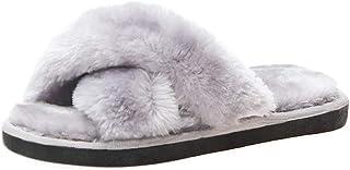 Girl's Slippers Kids' Fuzzy Slippers Slide Sandals Cross Band Plush Open Toe Fluffy House Slippers