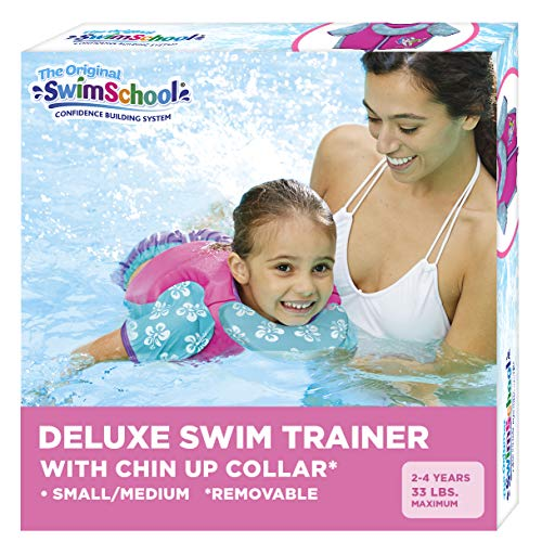 SwimSchool Swim Trainer Vest with UPF50 Shoulder Sleeves, Flex-Form Design, Removable Swim-Chin Aid, Adjustable Safety Strap, Small/Medium, Up to 33 Lbs., Pink/Aqua