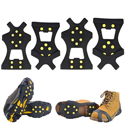 Adasea 2 Pair Ice Grips 10 Steel Studs Snow Grippers Ice Cleats Over Shoe/Boot Anti-Slip Traction Cleats Ice Grippers for Shoes Boots,Small and Large