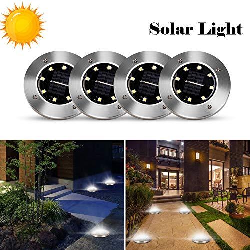 Keep Luz Solar de Suelo al Aire Libre, Luces solares de Piso Luces de Disco de Acero Inoxidable a Prueba de Agua IP65 Luces de Camino al Aire Libre para Sendero de césped Patio Paisaje Piscina