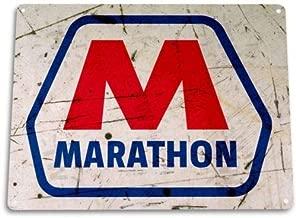 Metal tin Sign 8x12 inches TIN Sign Marathon Gas Station Tin Metal Sign Oil Shop Station Garage