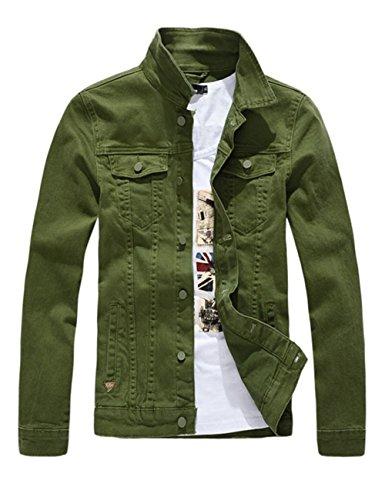 DSDZ Men`s Classic Slim Fit Motorcycle Denim Jacket Coat Green M(Asian 2XL)
