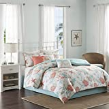 Island Living Coral & Teal Seashells, Starfish, Beach Queen Comforter Set (7 Piece Bed in A Bag)