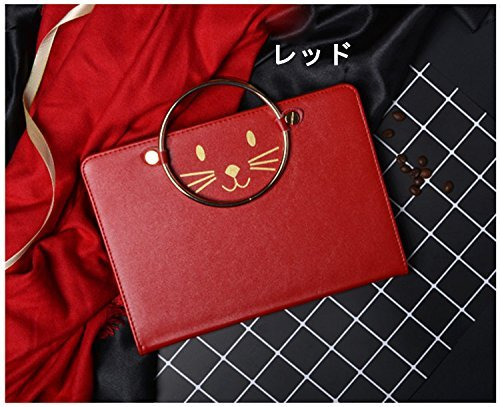ipad air2 ケース ipad air2カバー アイパットエアー カバー タブレットPC 手帳型 ねこ かわいい 手提げケース レッド