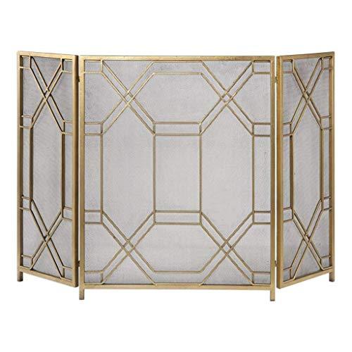 CHHD Nordic Minimalist Living Room Gold Schmiedeeisen Kaminschirm Dreifach gefaltete Bildschirmtrennwand Dekorative Kaminverkleidung Innenweihnachtsdekorationen