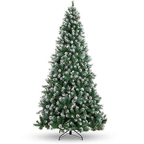 Best Choice Products 7.5ft Pre-Decorated Holiday Christmas Tree for Home, Office, Party Decoration w/ 1,346 PVC Branch Tips, Partially Flocked Design, Pine Cones, Metal Hinges & Base - Green/White