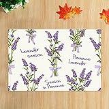JHDF Elegante púrpura Lavanda alfombras de baño jardín Hierba Flor para Amante romántico Antideslizante Felpudo entradas Alfombrilla de baño 40 * 60 cm Accesorios de baño