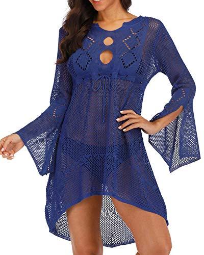 AUDATE Damen Boho Weben Einzigartig Bikini Cover Up V-Ausschnitt Crochet Stricken Strand Sommerkleid Strandkleid