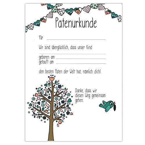 Patenurkunde - Baum - Paten Urkunde Patenbrief Taufurkunde Patenschaft Taufpaten Geschenk für Patentante Patenonkel Taufgeschenk vom Patenkind Taufe Patengeschenk Taufbrief