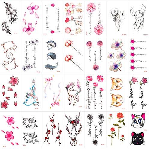 LIGUANGWEN Temporäre Tattoo Aufkleber Kleine Frische Aufkleber Wasserdicht Männer Und Frauen Dauerhafte Simulation Sexy Tattoo Aufkleber 50 Stück