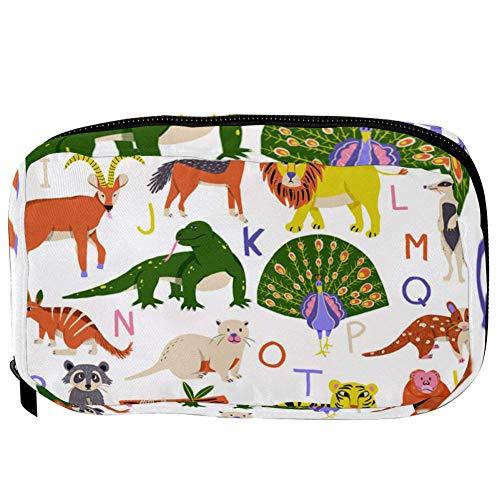 TIZORAX cosmeticatasjes ABC dieren alfabet handige toiletartikelen reistas organizer make-up tas voor vrouwen meisjes 16×6.3×9cm Patroon 1