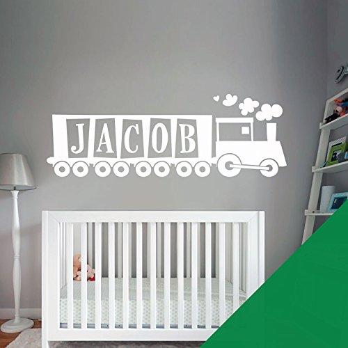 Train, Tank Engine – Chambre de garçon Nom personnalisé Art mural autocollant – [seulement nous envoyer un message avec le nom.], Meadow, Large (950x290mm)