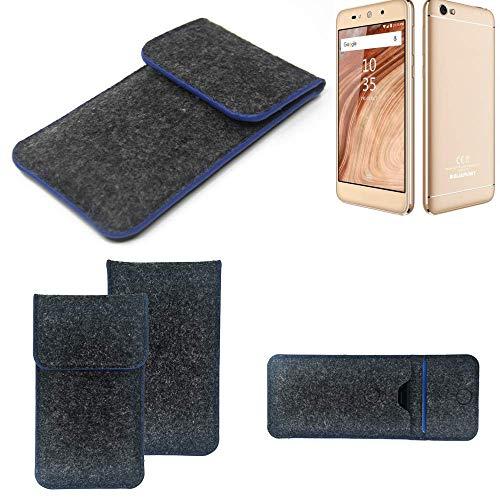 K-S-Trade Handy Schutz Hülle Für Blaupunkt SL02 Schutzhülle Handyhülle Filztasche Pouch Tasche Hülle Sleeve Filzhülle Dunkelgrau, Blauer Rand