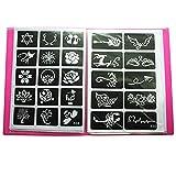 Xmasir Lot de 20 feuilles (446 pièces) de pochoirs pour tatouage aérographe, album artistique, petit kit de tatouage au henné à paillettes pour peinture corporelle