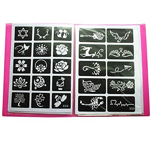 Xmasir 20 hojas (446 piezas) aerógrafo tatuaje plantillas álbum arte libro, pequeño kit de tatuaje de henna brillo semi permanente para pintura corporal