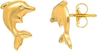 JewelStop 14K Yellow Gold Jumping Shiny Dolphin Stud Earrings