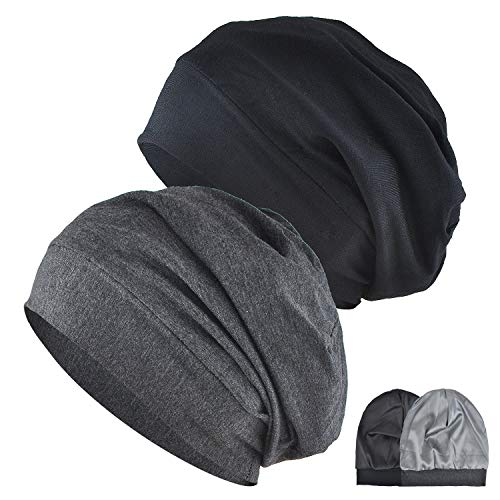 Satin Lined Sleep Cap, 2-Pack Womens Adjustable Silk Lined Slouchy Beanie Hat for Night Sleeping Surgical Patients Hair Care