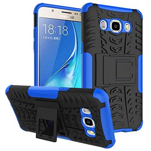 HongMan Funda para Samsung Galaxy J5 Duos (2016) / J510, Robusta Carcasa Híbrida TPU + PC de Doble Capa Anti-arañazos Caso, Armor Heavy Duty Case Cover Duradero Protección Neumáticos Patrón, Azul
