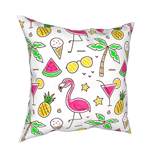 melendleo Cushion Cover Decorative Square Pillowcase For Sofa Couch Bed And Car45 * 45cm Palm Cocktail Cream Pineapple Flamingo