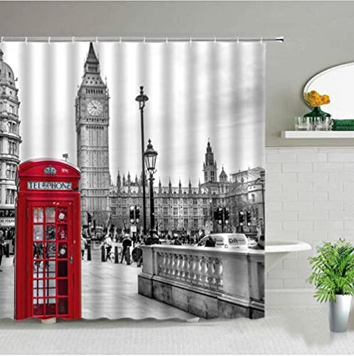 Cortina de Ducha de baño Retro con Cabina de teléfono roja Big Ben de Londres clásico, Cortinas de Tela Impermeables para bañera, decoración del hogar, arte-240cmx200cm