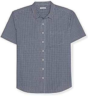 Amazon Essentials Men's Big & Tall Short-Sleeve Gingham Shirt fit by DXL