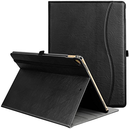 ZtotopCase Case for iPad Pro 12.9 Inch 2017/2015 (1st and 2nd Generation), Premium Leather Business Folio Case Cover, with Stand, Pocket and Auto Wake/Sleep Function, Multi-angle, Black