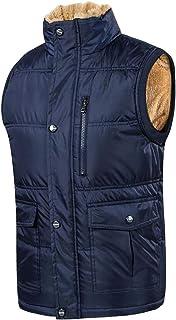 Macondoo Mens Fleece Quilted Winter Jacket Stand Collar Warm Down Vest Coat