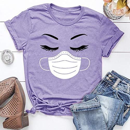 LXHcool 2020 Coron_avirus Funny T-Shirt I Survived Cov_id 19 T-Shirt Woman (Color : Purple, Size : Medium)