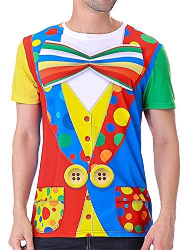 COSAVOROCK T-Shirts Maglietta Costume da Clown Uomo (L, Colourful)