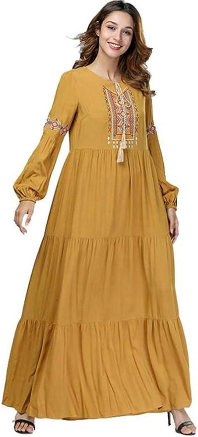 Amazon Com Hzikk Ruffle Pleated Muslim Dress For Women Robe Dubai Clothing Yellow Xl Home Kitchen