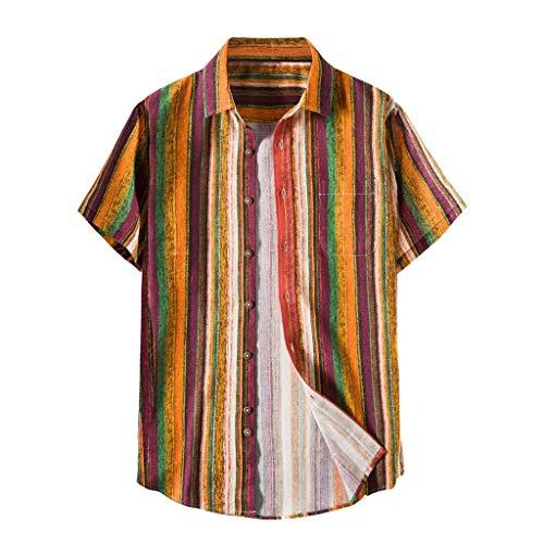 Xniral Herren Strandshirt Gedruckte Turn-Down-Kragen-Kurzarm-Freizeithemden Hawaii-Still Übergröße Knopf Runter Männer Sommershirt(l-Gelb,L)