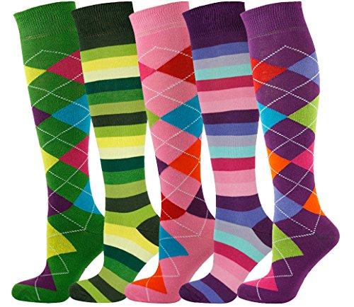 Mysocks Unisex Kniehohe Argyle Socken Mehrfachverpackung 706