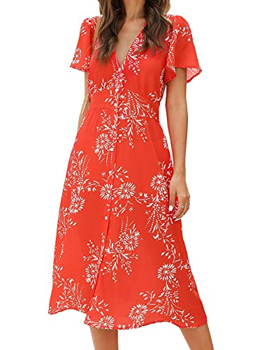 ROYLAMP Women's Floral Button Up Split Dress Deep V Short Bell Sleeve Casual Midi Dresses with Pockets White Flowers Red L