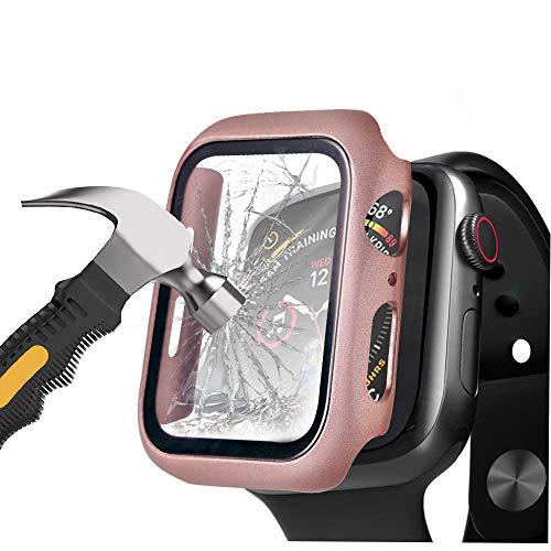 Henstar [2 Stück] Schwarz Hard Apple Watch Series 6/5/4/SE 44mm Hülle Mit Panzerglas Displayschutz, 360° Rundum Schutzhülle Ultradünne Schutz Case für iWatch (Series 6/5/4/SE 44mm, Roségold)