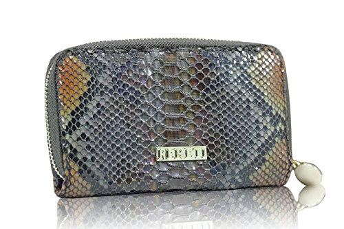 FERETI Braune Geldbörse Schlangen Reptilien Druck,Portemonnaie,PU Pythonleder, Purse, PU Schlangenleder,Croco Damen