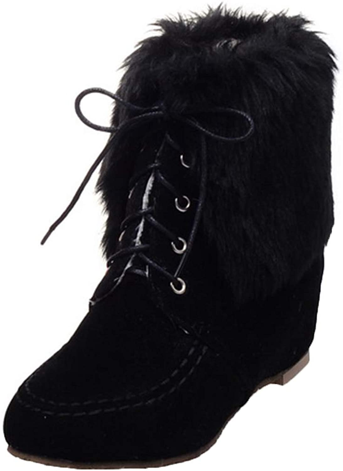 Vitalo Womens Lace Up Wedge Heel Fold Down Ankle Boots Fur Lined Winter Moccasin Boots