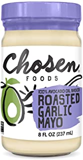 Chosen Foods Roasted Garlic Avocado Oil Mayo 8 oz., Non-GMO, 100% Pure, Unsweetened, Gluten Free, Dairy Free for Sandwiche...
