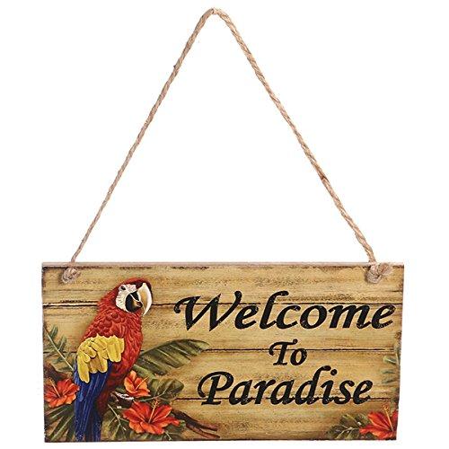 LUOEM Fiesta temática de la Playa de Hawaii Bienvenido al paraíso Rectangular Pared Colgante Decoración de la Boda Decoración de la Fiesta Infantil Luau Hawaii