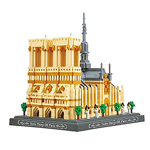 LGH Notre Dame Kathedrale Nano Mini Baustein Weltberühmtes Architekturmodell Kleine Partikel, Lernspielzeug für Teenager (4018 + STK.)
