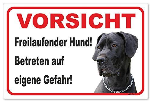 AdriLeo Schild - Vorsicht Deutsche Dogge - Freilaufender Hund - (20x30cm) / Graues Fell Achtung Hund Wachhund