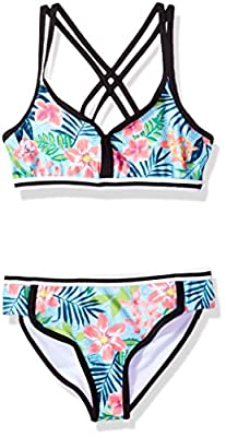 Jantzen Girls' Big Tropicana Vibrant Bikini, Tropical FOILIAGE Print, 7