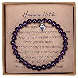 Gifts for 16 Year Old Girl Amethyst Bead Bracelet with Sterling Silver Heart Charm Sweet 16 Gifts for Girls with Card and Gift Box