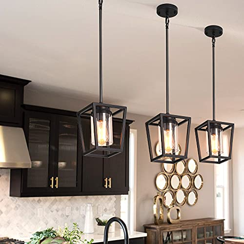 SGLfarmty Pendant Lighting for Kitchen Island, Cage Hanging Light Fixtures, Black Pendant Lights with Durable Glass Shade for Dining Room & Kitchen,Black
