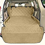 F-color SUV Cargo Liner for Dogs, Waterproof Pet Cargo Cover Dog Seat Cover Mat for SUVs Sedans Vans with Bumper Flap Protector, Non-Slip, Large Size Universal Fit, Khaki