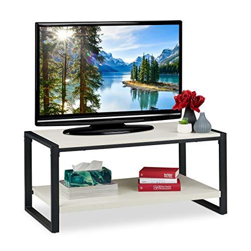 Relaxdays salontafel, tv-meubel voor woonkamer, plat, 2 niveaus, houtnerf, h x b x d: ca. 45 x 100 x 55 cm, wit, particle board, metaal