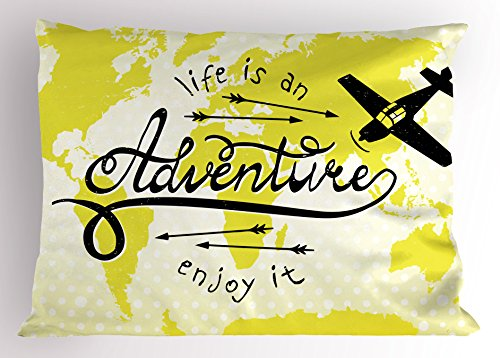 Ambesonne Adventure Pillow Sham, Life is an Adventure Words Map of The World Small Airplane Traveling Art Print, Decorative Standard Queen Size Printed Pillowcase, 30' X 20', Yellow Black