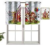 Hiiiman Cenefa de cortina con ojales, diseño de animales de dibujos animados, juego de 1, 91,4 x 45,7 cm para decoración de interiores