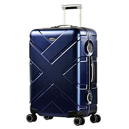 Eminent Koffer Gold Crossover M 65cm 66L Aluminiumrahmen 4 Doppelrollen 360° TSA Schloss Hartschalenkoffer Blau/Grau