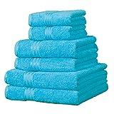 Linens Limited - Supreme - Juego de 6 Toallas de Hotel - 100% algodón Egipcio - Azul Verdoso