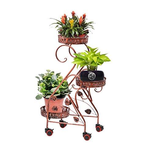 AJZGFStand d'extérieur pour plantes d'intérieur Porte-fleurs, 3 pots de présentoir de pots de fleurs en métal, support de plancher amovible (Color : Red Copper)